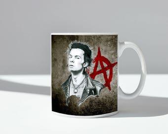 Sid Vicious Anarchy ceramic mug, dishwasher safe