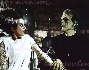 Lovely  Romantic Hand Tinted Photo Of The Frankenstein Monster & His Bride 1935 Film Still Valentine's Day  5x7 Greeting Card