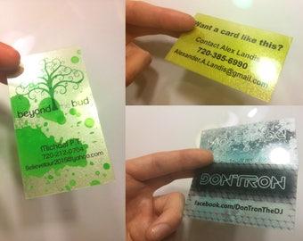 250 Custom Painted Plastic Business Cards! Transparent, translucent, metallic, neon, fluorescent, clear.