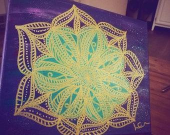 Purple, Turquoise, Gold Mandala Painting