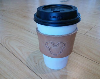 Mickey Mouse Leather Coffee Cup Holder