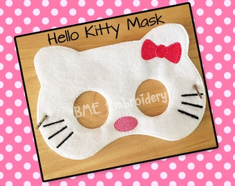 Hello Kitty Inspired Felt Mask- Child's Dress Up Imaginary Play- Birthday Party Favor-Photo Shoot-Pretend Play-Theme Party