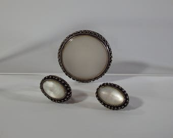 Antique/Vintage China Chinese Silver Set-Brooch & Earrings-With Mother Of Pearl