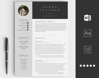 Creative Resume Template For Word   Instant Download CV Template   Design  With Cover Letter,  Graphic Design Resume Template