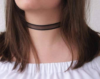 Black Sheer Choker Necklace with Black Stripes Neck Wrap detachable removeable accessories for women Silver or Gold Chiffon Bohemian Minimal