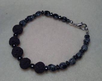 Lava Snowflake Obsidian and Hematite Beaded bracelet