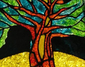 Glass painting, Glass art, Glass wall art, Tree