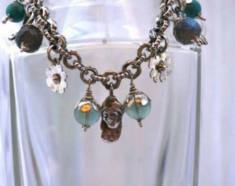 Ooak sterling charm bracelet with PMC milagros, turquoise, fluorite,  labradorite and amazonite.