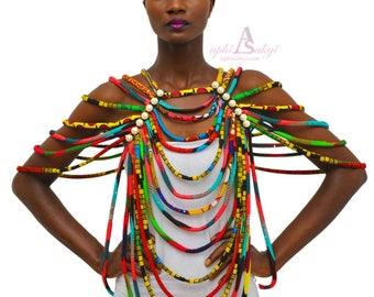 Ankara necklace,Ankara jewelry,African jewelry,conversion piece rope necklace,jewelry,African ,