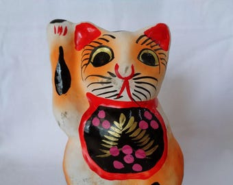 1285:Maneki Neko cat,Fine Japanese Clay /Papier mache mold of cat,Lucky  Fortune Maneki Neko cat,ARTIST's work,signed,Handcrafted in Japan