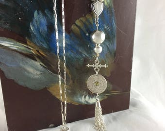 Sterling Silver Ball Necklace with Old French Coin and Tassel