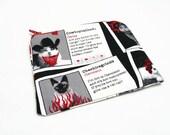 Petit porte-monnaie  // Bourse // Trousse // Avec des chats // Site de rencontre // Pochette humoristique rouge noire et grise