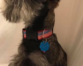 Patriotic Dog Collar / Independence Day / 4th of July / American Flag Dog Collar / Red White and Blue Dog Collar / Adjustable Dog Collar