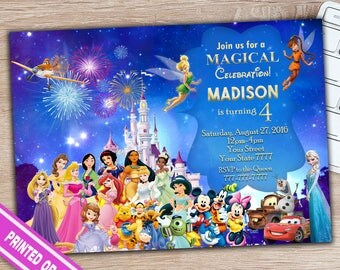 Disney Princess Invitation - Disney Princess Birthday Invitation - Disney Princess Birthday Party - Disney Characters Invitation