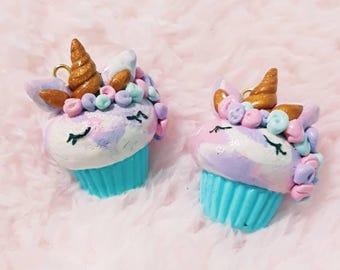 Unicorns, Unicorn Cupcakes, Flowers, Unicorn Charm, Cupcake Charm, Food Charm, Polymer Clay Charm, Miniature Food, Planner Charm