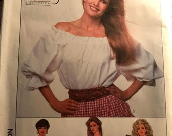 Cute Christie Brinkley Peasant Blouse and Cropped Blouse Pattern---Simplicity 9162---Sizes S thru XL  Bust 32 1/2 Thru 42  UNCUT