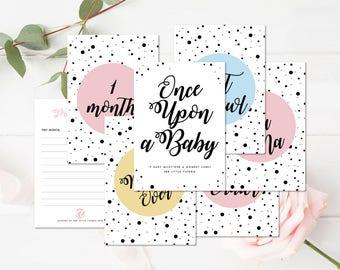 Baby Milestone Cards, Baby shower gift, New Baby Gift, Baby First Year Cards, Nursery Decor,  Baby Keepsake, Gender Neutral, Unisex, Scandi
