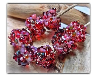Berry Punch Popcorn Lampwork Beads