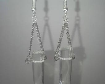 Long clear crystal on chain dangle earrings
