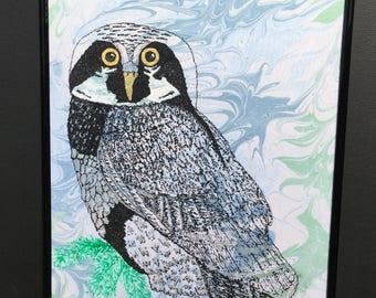 Hawk owl hand painted, hand drawn, hand marbling