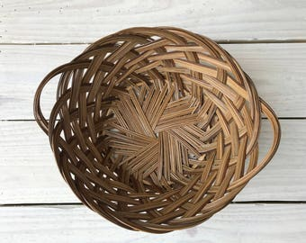 Vintage Woven Basket || Mid-sized Retro Basket