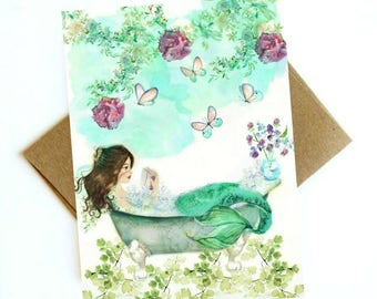 Watercolor Mermaid Reading