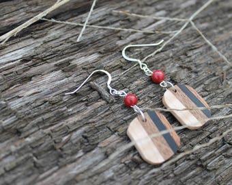 Wood Earrings Lightweight Earrings Wooden Jewelry Handmade Natural Wood Jewelry Stone Earrings Wood Gift for Her Minimalist Gift Geometric