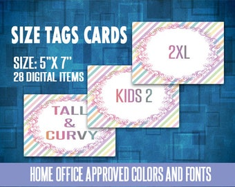 Size Cards, Sizing Cards, 5x7 inches, For Fashion Retailer, Instant Download, Sizing Cards, Digital, Approved Color&Fonts