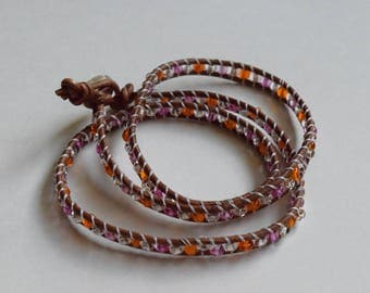 Clear, Pink and Orange Wrap Bracelet