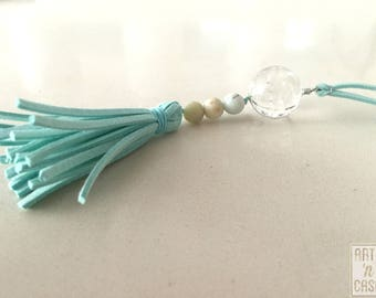 Necklace 3 wishes 3 tooth of Lion, and crystal ball 3 counts amazonitas and suede tassel