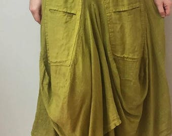 LAGENLOOK parachute skirt fits 10-16 uk Made in Italy **LIME**