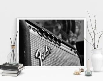 Vintage Fender Amp Photography Print, Wall Art, Black and White Print, Printable Art, Instant Digital Download Print, Amplifier