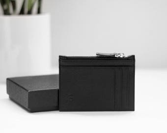 Genuine Saffiano Leather Cardholder wallet with zip + RFID Protected