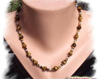 Tiger eye and 925 sterling silver necklace