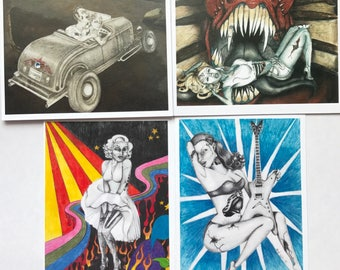 Set of 4 note cards--zombie pinup chick; color series