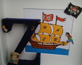 Boy/Girl Initial and Pirate ship box-frame