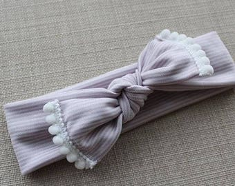 Baby Headband - Toddler Headband - Baby Bow - Toddler Bow - Striped Bow - Pink Bow