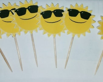 24 Summer Sun Cupcake toppers, Sun Cupcake Toppers, Sun Toppers