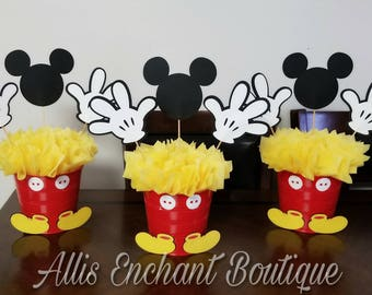 Mickey Mouse Centerpiece ,Disney Character, Kids Party, Mickey Mouse Club House Birthday, Party Ideas Kids Events