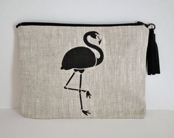Pouch / clutch Flamingo Pink linen with leather tassel
