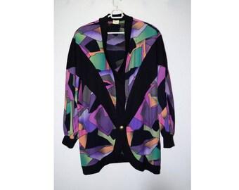 Vintage cardigan Color jacket Shoulder pads Abstract geometric print