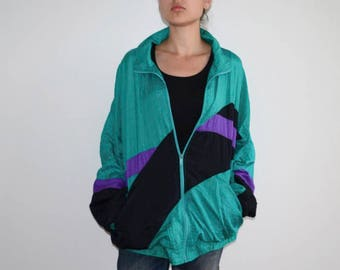 Vintage windbreaker Retro jacket Bomber jacket Men sport jacket 1990s Women's blazer workout jacket green unisex windbreaker wind jacket