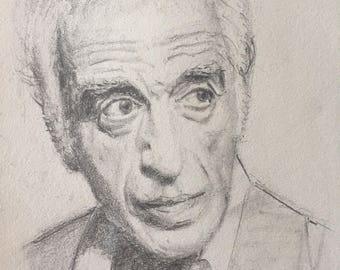 Portrait of Gérard Darmon, pencil on paper, 16x24cm 2017