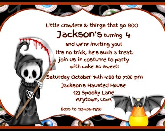 Little Reaper Halloween Themed Costume Party Invitation/ Halloween Themed Party Invite