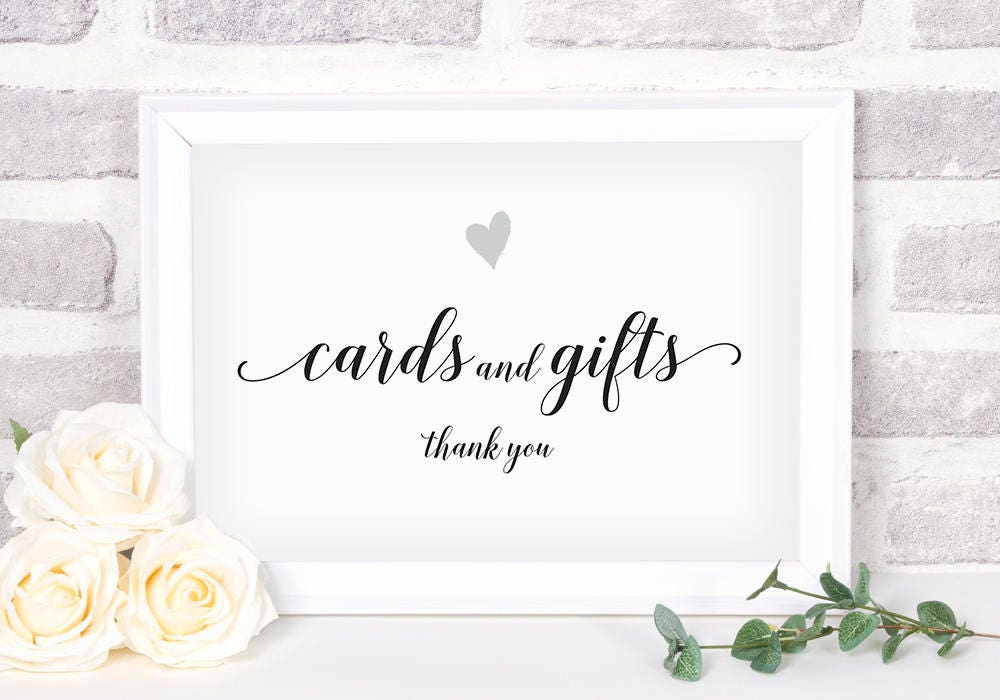 Gift Card Wedding Shower: Printable Cards And Gifts Sign. Bridal Shower Sign. Wedding