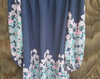 Size:S, Navy and floral off the shoulder above the knee dress