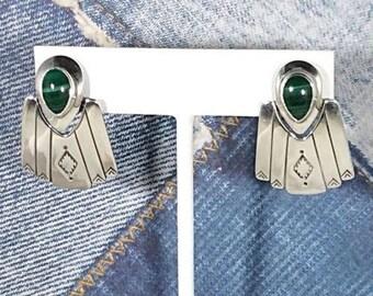 Malachite Sterling Silver Earrings Native American Southwestern Dangle Earrings