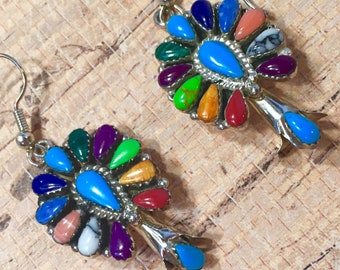 Southwestern Turquoise, sterling silver and multi-gemstone dangle earrings.