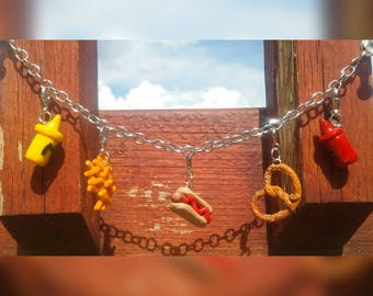 Polymer Clay Hot Dog & Ketchup Charm Bracelet