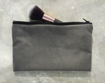 zipper pouch gray soft RYLON